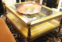 Leather and Glass Coffee Table