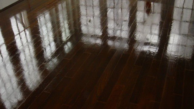 Sun Room Dark Wood Stained White Oak Floors